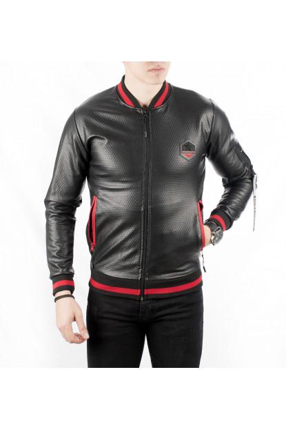 DeepSEA Black Brand Hooded Fur Zip Handles Leather Long Puff Mont 1802004