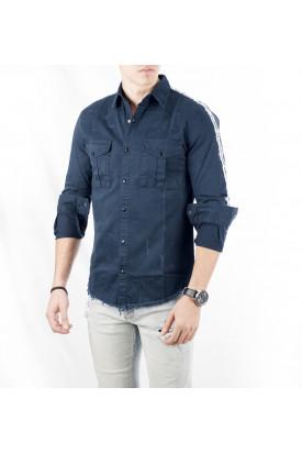 dac5e849bb9 DeepSEA Navy blue Fabric Self-Tied Snapper Narrow Hem Mens Jeans Shirt  1803035 ...