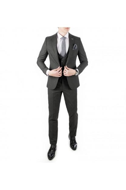DeepSEA Kare Desenli-Çizgili 3'lü İtalyan Kesim Erkek Takım Elbise 1810720