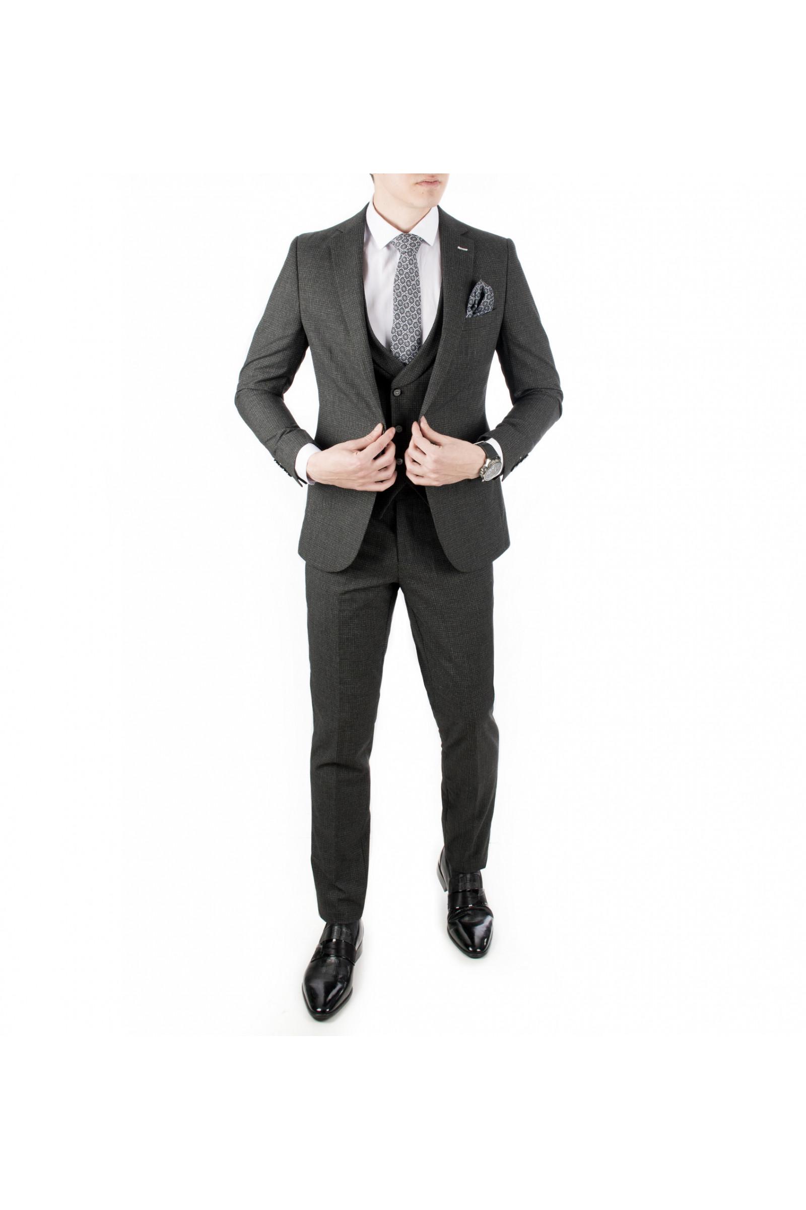 fb23b93276883 DeepSEA Kare Desenli-Çizgili 3'lü İtalyan Kesim Erkek Takım Elbise 1810720
