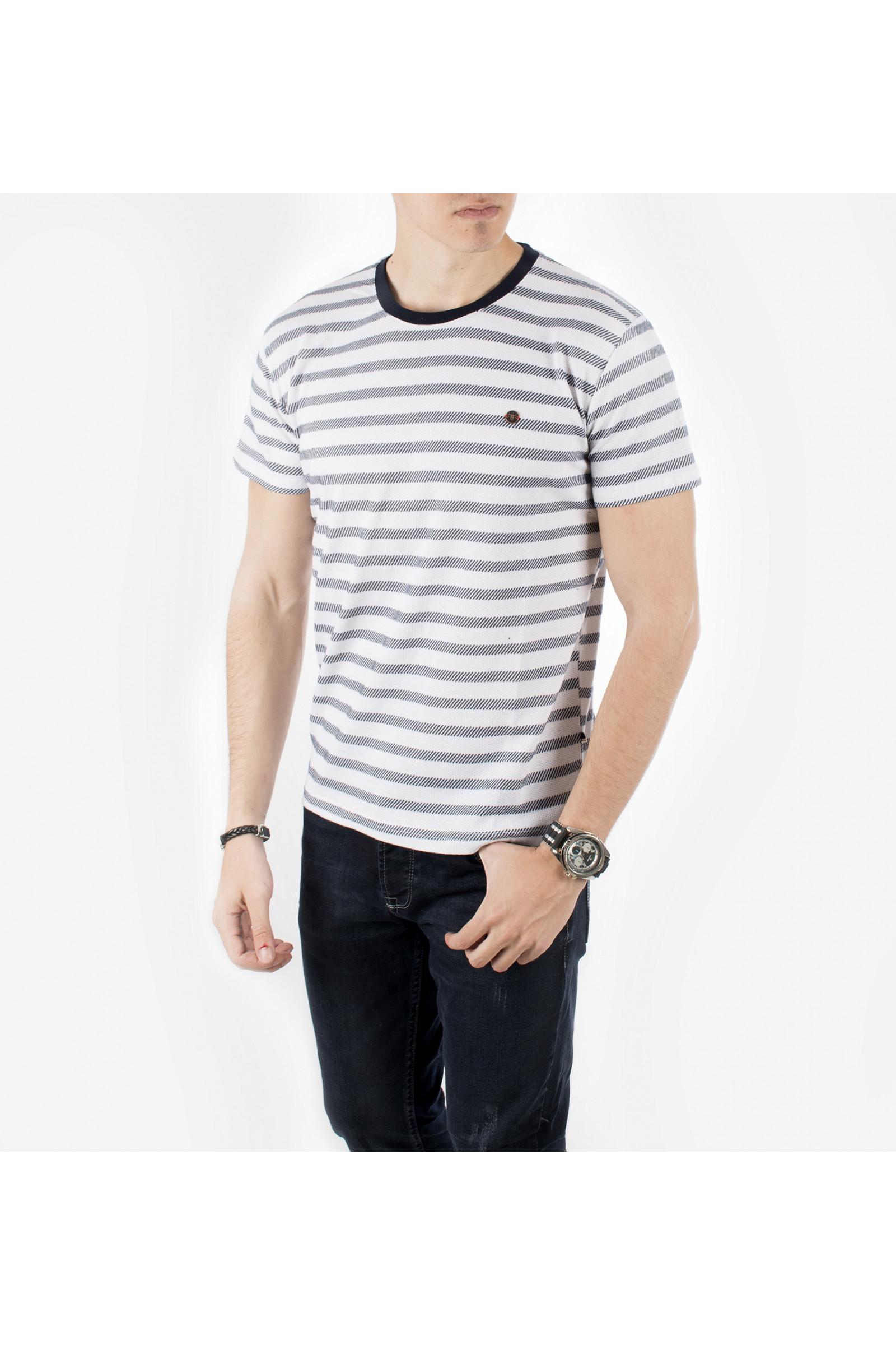 97de61ea8da22 DeepSEA Beyaz Sıfır Yaka Çizgili Yeni Sezon Erkek T-Shirt 1919221 ...