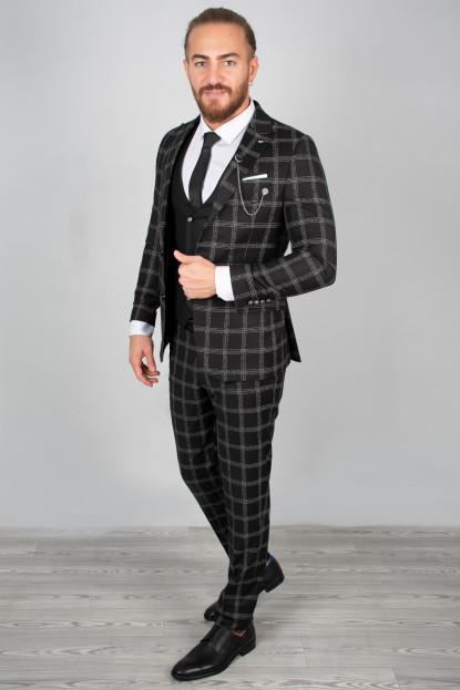 DeepSEA Kabartmalı Ekose Desenli Takım Elbise 2001145