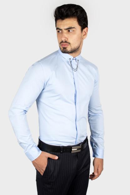 DeepSEA Yakası Zincir Aksesuarlı Gizli Düğmeli Likralı Uzun Kollu Erkek Gömlek 1805031