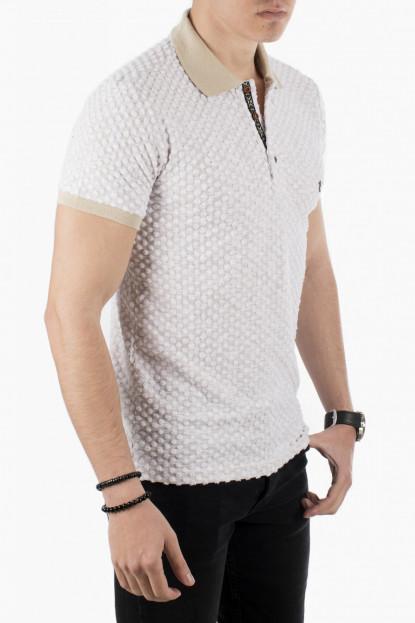 DeepSEA Nokta Desenli Üç Düğmeli Armalı Polo Yaka Erkek T-Shirt 1919101