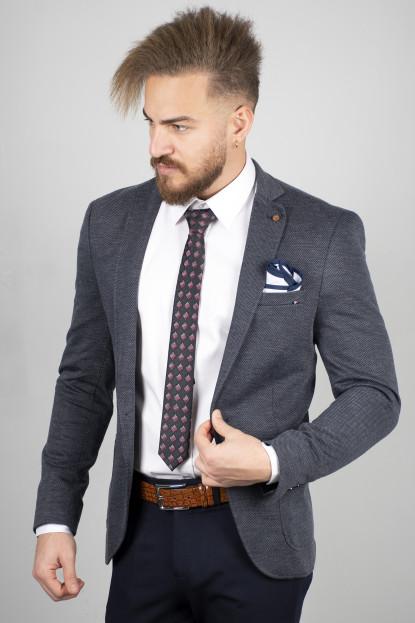 DeepSEA Kendinden Desenli Torba Cepli Slim Fit Blazer Ceket 2000164