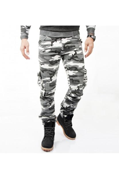 Yıkamalı Dar Kesim Askeri Kamuflaj Pantolon