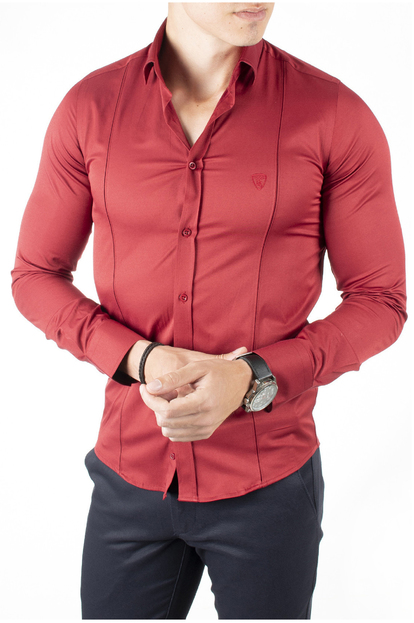 DeepSEA İtalyan Kesim Önü ve Arkası Pensli Armalı Pamuk Saten Erkek Gömlek 1809017