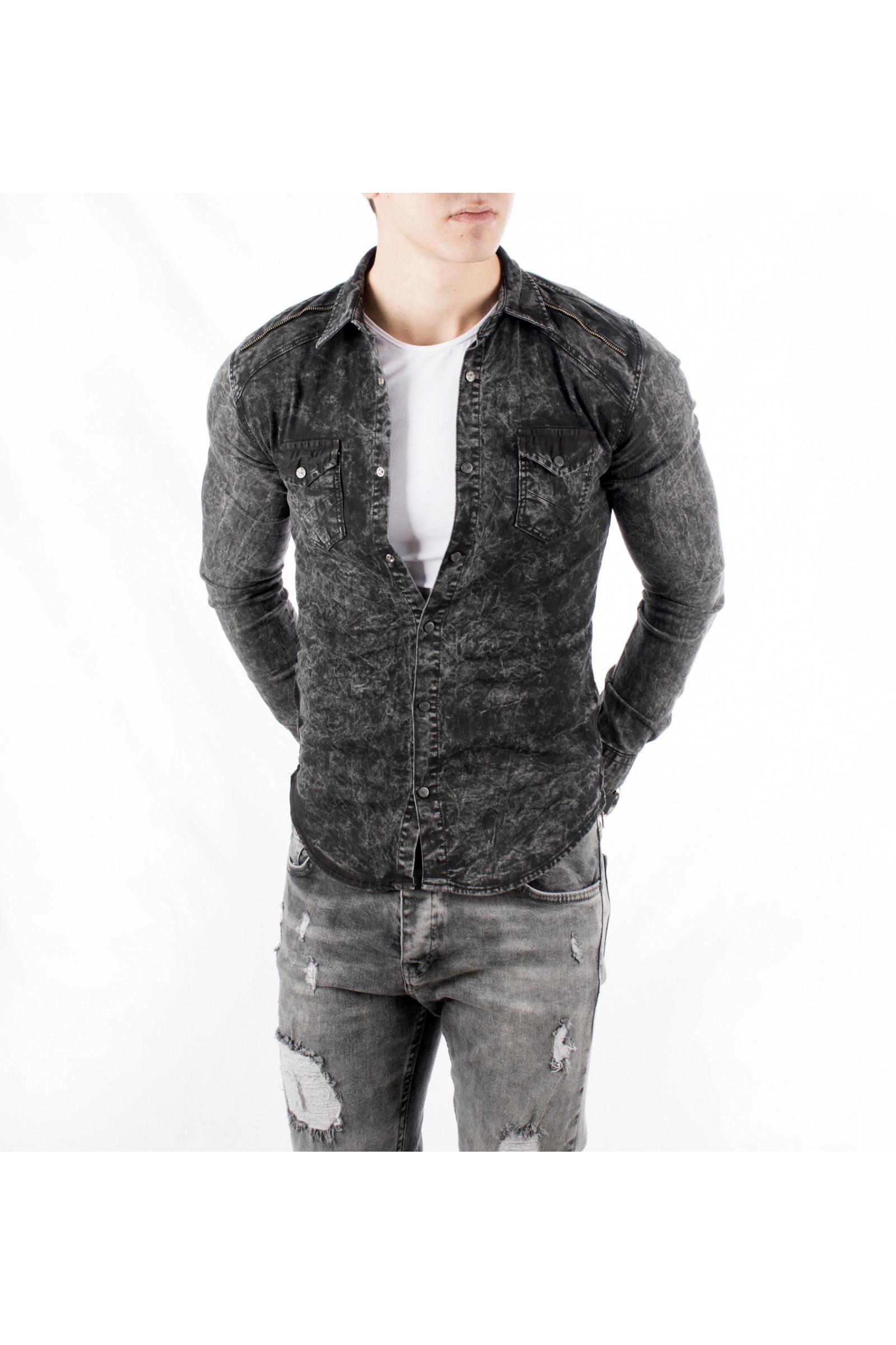 e7922e0294e DeepSEA Fabric Self-Tied Snapper Narrow Hem Mens Jeans Shirt 1803035