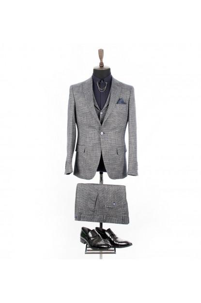 DeepSEA Kumaşı Parlak Kendinden Desenli Slimfit 3'lü Takım Elbise 1810536